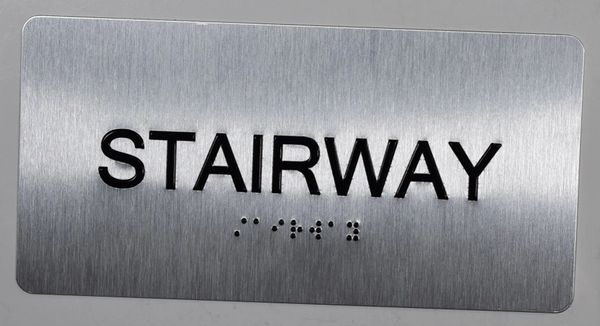 Stairway Sign- BRAILLE (ALUMINUM SIGNS 4X8)- The Sensation line