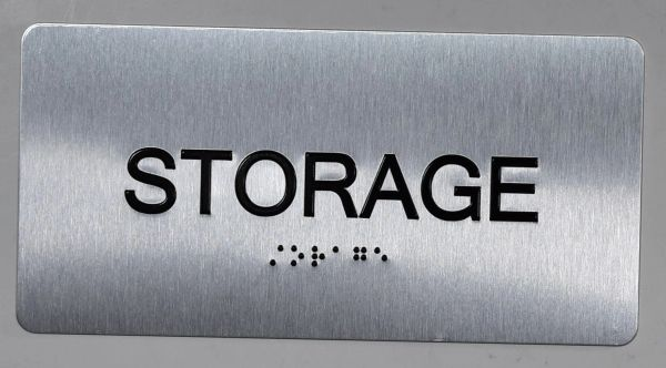 STORAGE Sign- BRAILLE (ALUMINUM SIGNS 4X8)- The Sensation line