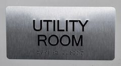 UTILITY ROOM Sign- BRAILLE (ALUMINUM SIGNS 4X8)- The Sensation line