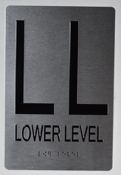 LOWER LEVEL SIGN- BRAILLE (ALUMINUM SIGNS 9X6)- The Sensation Line