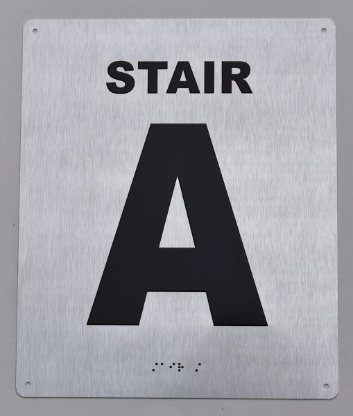 STAIR A SIGN- BRAILLE (ALUMINUM SIGNS 12X10)- The Sensation line