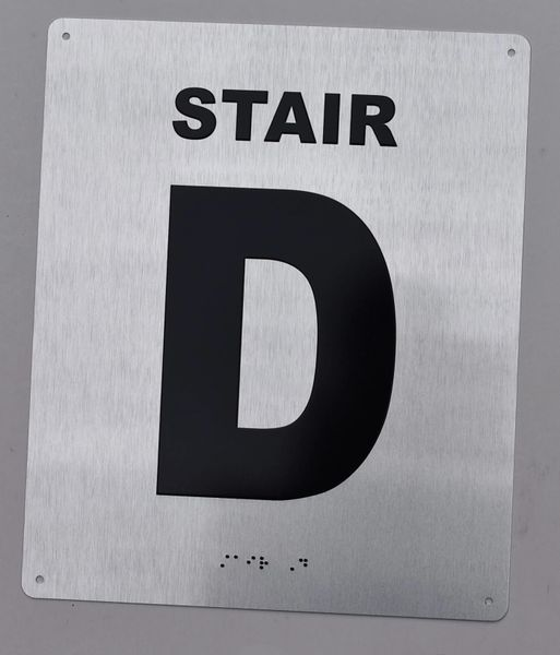 STAIR D SIGN- BRAILLE (ALUMINUM SIGNS 12X10)- The Sensation line
