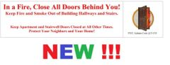 In a Fire, Close All Doors Behind You SIGN (White background,ALUMINUM SIGNS 4X12)