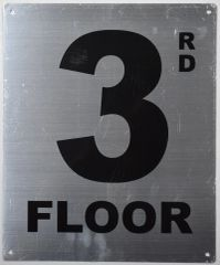 3rd FLOOR SIGN- SILVER (ALUMINUM SIGNS 12X10)- Monte Rosa Line