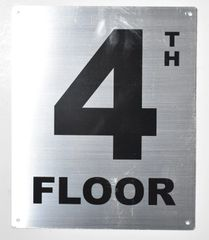 4TH FLOOR SIGN- SILVER (ALUMINUM SIGNS 12X10)- Monte Rosa Line