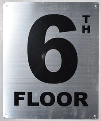 6TH FLOOR SIGN- SILVER (ALUMINUM SIGNS 12X10)- Monte Rosa Line
