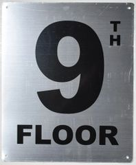 9TH FLOOR SIGN- SILVER (ALUMINUM SIGNS 12X10)- Monte Rosa Line