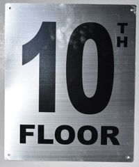 10TH FLOOR SIGN- SILVER (ALUMINUM SIGNS 12X10)- Monte Rosa Line