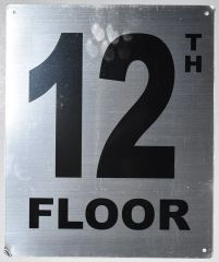 12TH FLOOR SIGN- SILVER (ALUMINUM SIGNS 12X10)- Monte Rosa Line