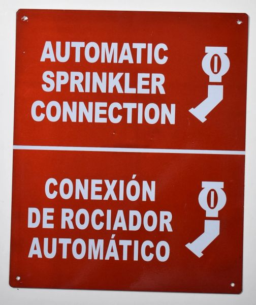 AUTOMATIC SPRINKLER CONNECTION SIGN (ALUMINUM SIGNS 10X12)