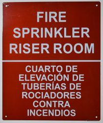 FIRE SPRINKLER RISER ROOM SIGN (ALUMINUM SIGNS 12X10)