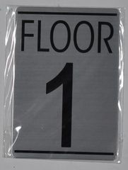 FLOOR NUMBER ONE (1) SIGN - BRUSHED ALUMINUM (ALUMINUM SIGNS 5.75X4)