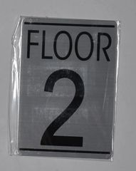 FLOOR NUMBER TWO (2) SIGN - BRUSHED ALUMINUM (ALUMINUM SIGNS 5.75X4)