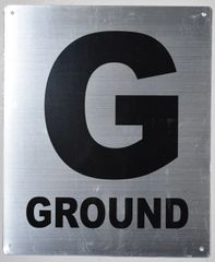 FLOOR NUMBER SIGNS- GROUND FLOOR SIGNS- GROUND SIGN- BRUSHED ALUMINUM (ALUMINUM SIGNS 12X10)- Monte Rosa Line