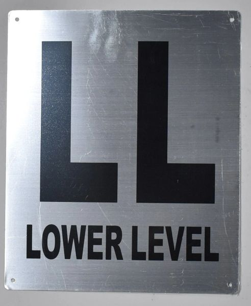 FLOOR NUMBER SIGN - LOWER LEVEL SIGN - BRUSHED ALUMINUM (ALUMINUM SIGNS 12X10)- Monte Rosa Line