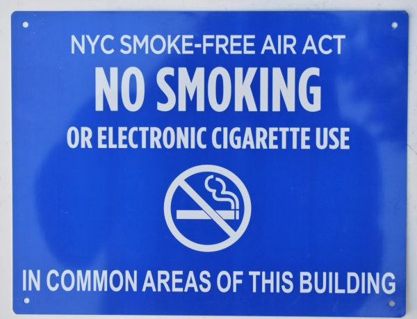 "NYC SMOKE FREE AIR ACT SIGN ""No Smoking or Electronic cigarette Use"" - IN COMMON AREAS OF THIS BUILDING ( 8.5x11, Blue Aluminium)"