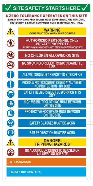 SITE SAFETY RULES SIGN (ALUMINUM SIGNS 23X11.5)