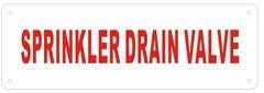 SPRINKLER DRAIN VALVE SIGN- Reflective !!! - WHITE ALUMINUM BACKGROUND (ALUMINUM SIGNS 2X6)