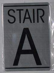 FLOOR NUMBER SIGN - STAIR A SIGN - BRUSHED ALUMINUM (ALUMINUM SIGNS 5.75X4)