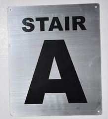 FLOOR NUMBER SIGN - STAIR A SIGN - SILVER (ALUMINUM SIGNS 12X10)- Monte Rosa Line