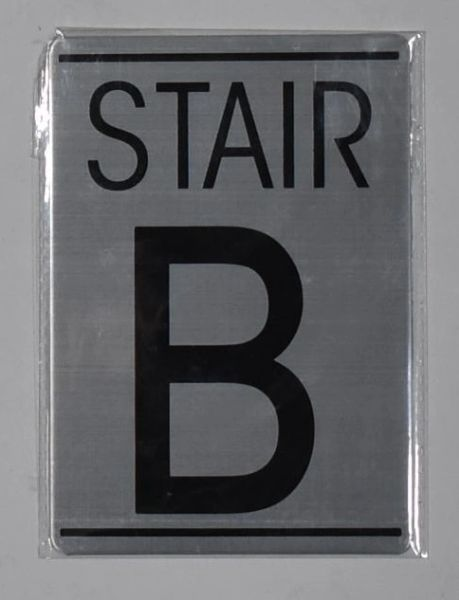 FLOOR NUMBER SIGN - STAIR B SIGN - BRUSHED ALUMINUM