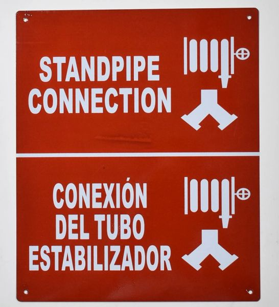 STANDPIPE CONNECTION SIGN- REFLECTIVE !!! (ALUMINUM SIGNS 12X10)