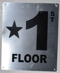 FLOOR NUMBER SIGN - STAR 1 FLOOR SIGN- BRUSHED ALUMINUM BACKGROUND (ALUMINUM SIGNS 10X12)- Monte Rosa Line