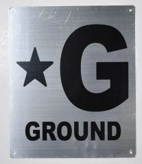 GROUND FLOOR NUMBER SIGNS- STAR GROUND SIGNS- STAR GROUND- BRUSHED ALUMINUM BACKGROUND (ALUMINUM SIGNS 12X10)- Monte Rosa Line