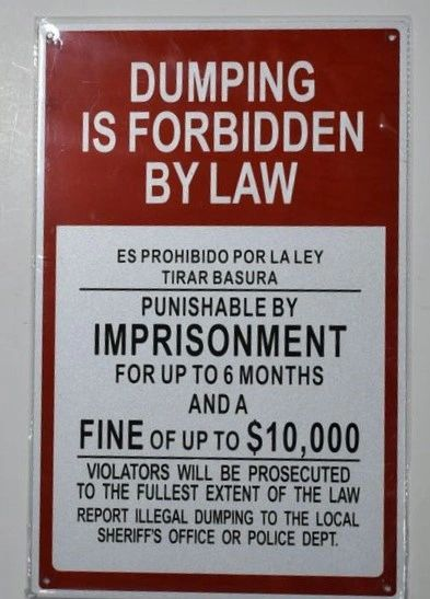 DUMPING IS FORBIDDEN BY LAW SIGN (ALUMINUM SIGNS 14X9)