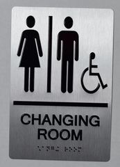 CHANGING ROOM SIGN- SILVER- BRAILLE (ALUMINUM SIGNS 9X6)-The sensation line