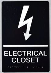 ELECTRICAL CLOSET SIGN- BRAILLE- BLACK (ALUMINUM SIGNS 9X6)-The sensation line
