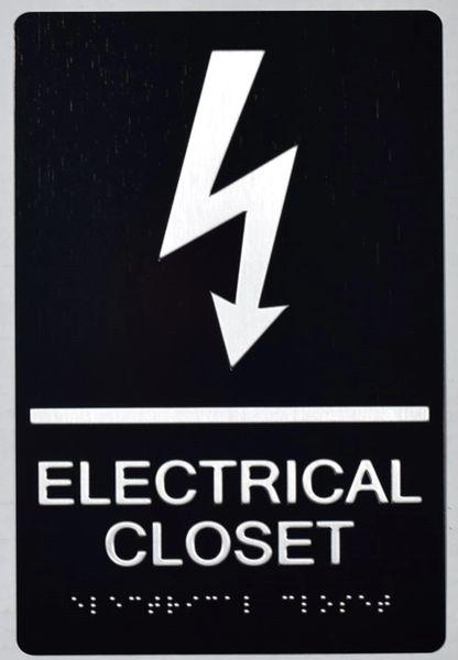 ELECTRICAL CLOSET SIGN- BRAILLE- BLACK (ALUMINUM SIGNS 9X6)-The sensation line