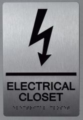 ELECTRICAL CLOSET SIGN- BRAILLE- SILVER (ALUMINUM SIGNS 9X6)-The sensation line