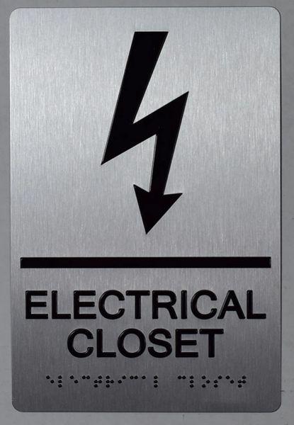 ELECTRICAL CLOSET SIGN- BRAILLE- SILVER (ALUMINUM SIGNS 9X6)-The sensation line