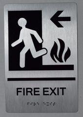 FIRE EXIT LEFT SIGN- BRAILLE (ALUMINUM SIGNS 9X6)-The sensation line