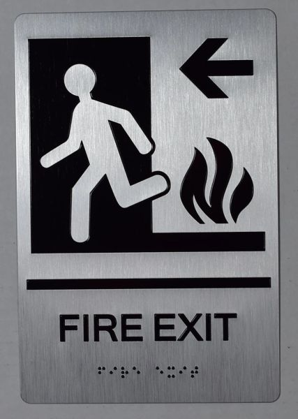 FIRE EXIT LEFT SIGN- BRAILLE (ALUMINUM SIGNS 9X6)-The sensation line