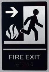 FIRE EXIT RIGHT SIGN- BLACK- BRAILLE (ALUMINUM SIGNS 9X6)-The sensation line