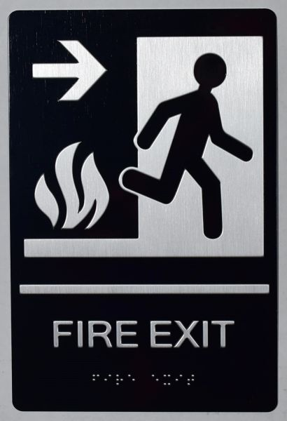 FIRE EXIT RIGHT SIGN- BLACK- BRAILLE (ALUMINUM SIGNS 9X6)-The sensation line