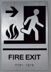 FIRE EXIT RIGHT SIGN- SILVER- BRAILLE (ALUMINUM SIGNS 9X6)-The sensation line