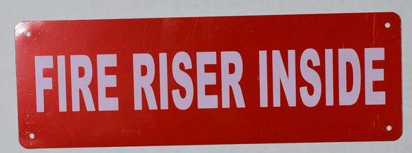 FIRE RISER INSIDE SIGN- Reflective !!! (ALUMINUM SIGNS 2X6)
