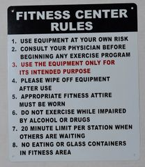 FITNESS CENTER RULES SIGN (ALUMINUM SIGNS 14X10)