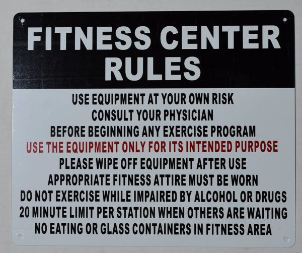 FITNESS CENTER RULES SIGN (ALUMINUM SIGNS 10X12)