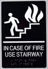 IN CASE OF FIRE USE STAIRS SIGN- BLACK- BRAILLE (ALUMINUM SIGNS 9X6)-The sensation line