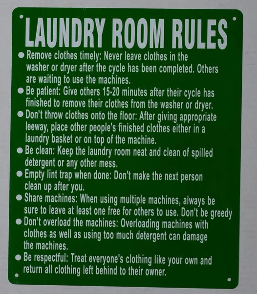LAUNDRY ROOM RULES SIGN – GREEN (ALUMINUM SIGNS 14X10)