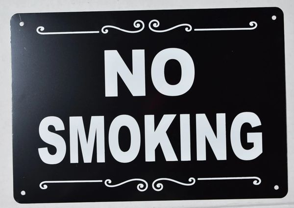NO SMOKING SIGN- BLACK (ALUMINUM SIGNS 7X10)