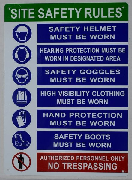 SITE SAFETY RULES SIGN (ALUMINUM SIGNS 14X10)