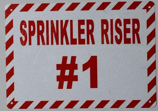 SPRINKLER RISER # 1 SIGN -WHITE ALUMINUM BACKGROUND (ALUMINUM SIGNS 7X10)