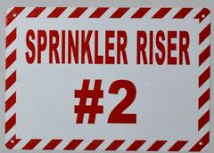 SPRINKLER RISER # 2 SIGN- WHITE BACKGROUND (ALUMINUM SIGNS 7X10)