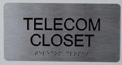 TELECOM CLOSET SIGN- SILVER- BRAILLE (ALUMINUM SIGNS 4X8)-The sensation line
