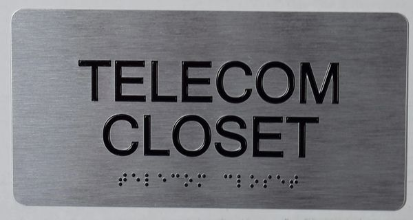 TELECOM CLOSET SIGN- SILVER- BRAILLE (ALUMINUM SIGNS 4X8)-The sensation line
